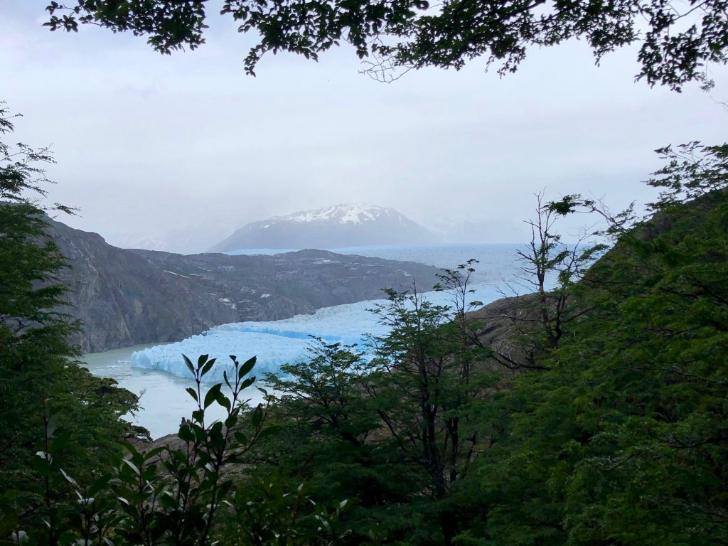 Der Gletscher Grey im Nationalpark Torres del Paine in Chile hat sich schon weit zurückgezogen.