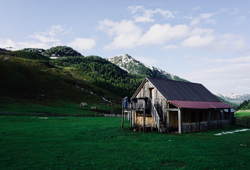 Eine Holzhütte auf grüner Wiese