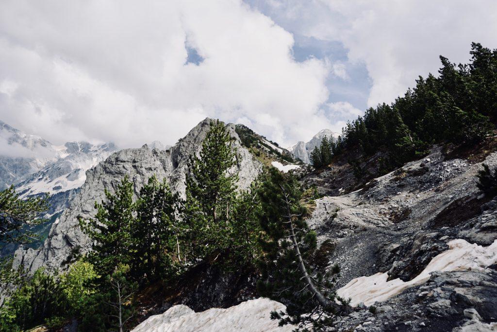Gebirgsaussicht mit Tanne, Schnee auf Felsen und dramatischem Himmel auf dem Peaks of the Balkans.